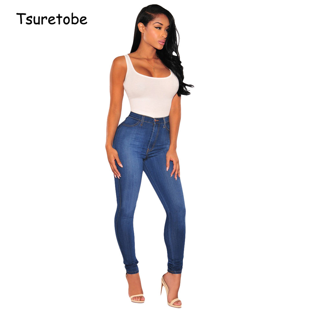 Tsuretobe Bodycon Slim Blue Jeans For Women Summer Fashion Mid Waist Denim Pencil Pants Ladies Casual Trousers Pocket Female