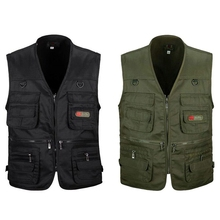 ABZB-2Pcs Men's Fishing Vest with Multi-Pocket Zip for Photography / Hunting / Travel Outdoor Sport