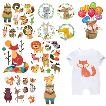 Iron on Animal Patches Set for Kids Clothing DIY T-shirt Applique Heat Transfer Vinyl Cute Fox Bear Patch Stickers Thermal Press iron on cartoon anime patches for kids animal patch for clothing bag cute bat hero bear stickers diy heat transfers appliques h