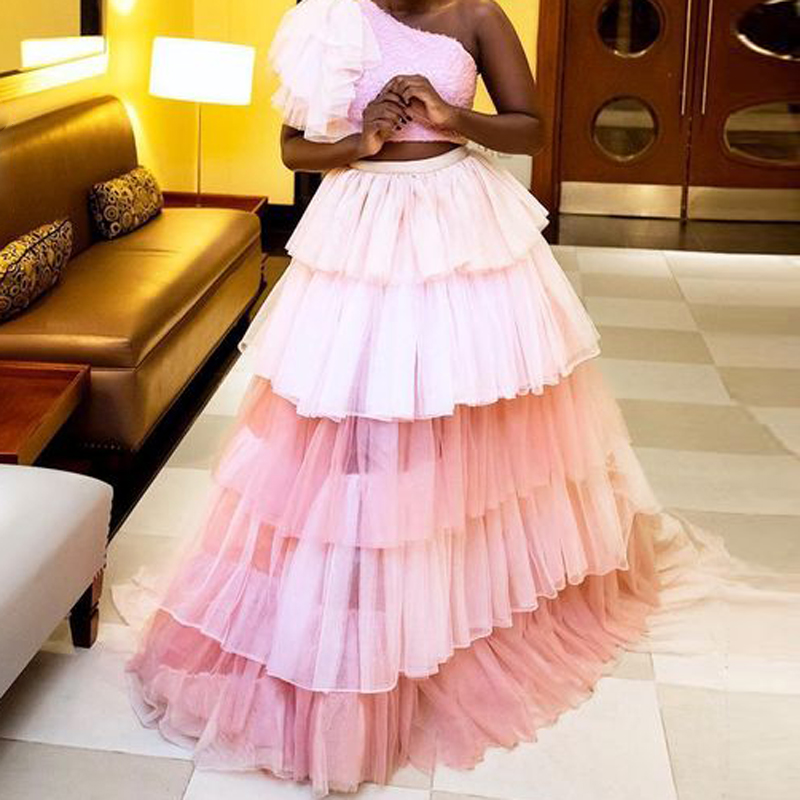 Chic 2 Colors Tulle Long Skirt Mixed Color Ombre Floor Length Prom Party Skirts Womens Tiered Ruffles Ball Gown Maxi Skirt