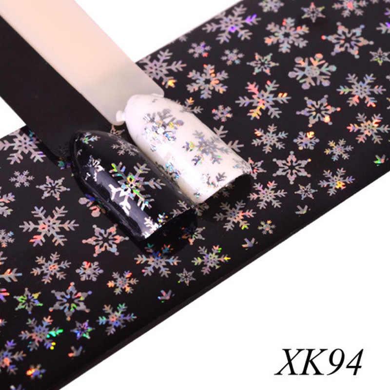 Stiker Kuku 100X4 Cm Xmas Pola untuk Stiker Kuku 3D Kepingan Salju Bintang Laser Gemerlap Natal Kuku Seni Transfer foil Nail Art