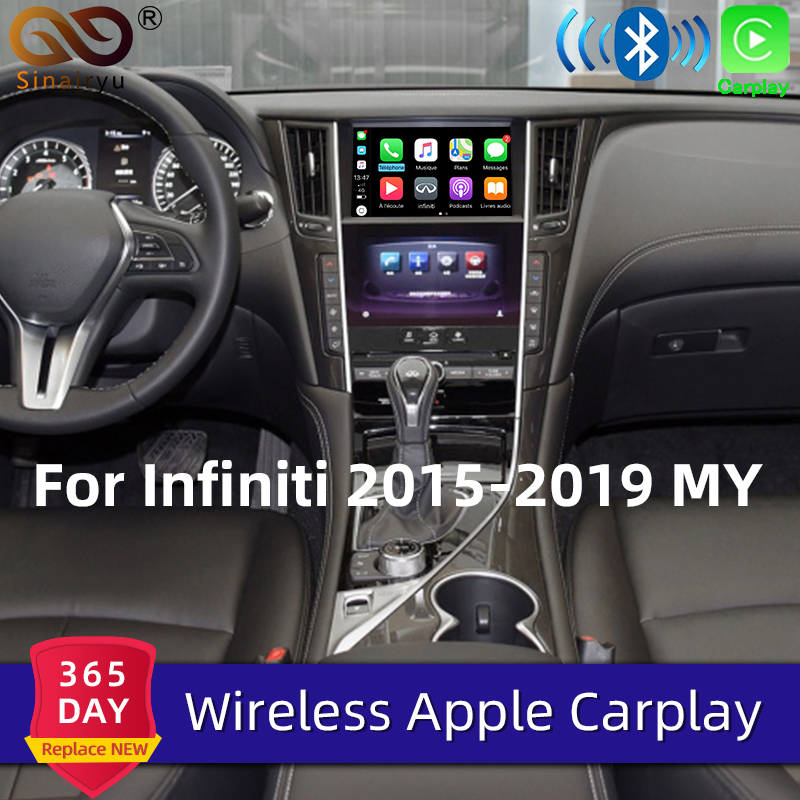 Sinairyu Wireless Apple Carplay For Infiniti 8inch Screen 2015-2019 Q50 Q60 Android Auto Mirror Wifi Car Play Upgraded Airplay