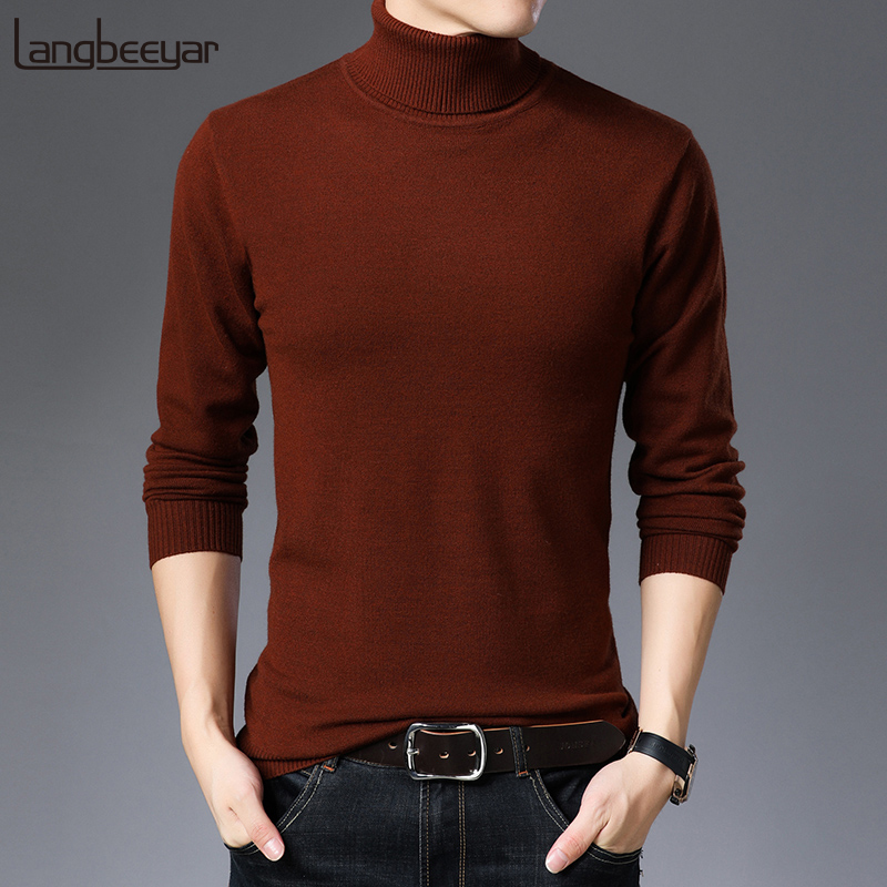 2019 New Fashion Brand Sweaters Man Pullovers Thick Slim Fit Jumpers Knitred Turtleneck Winter Korean Style Casual Mens Clothes