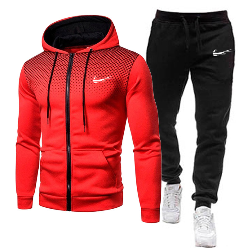 New Fashion Mens Clothing Zipper Sweater Cotton Men Tracksuits Hoodie Two Pieces + Pants Sports Shirts Fall Winter Track suit