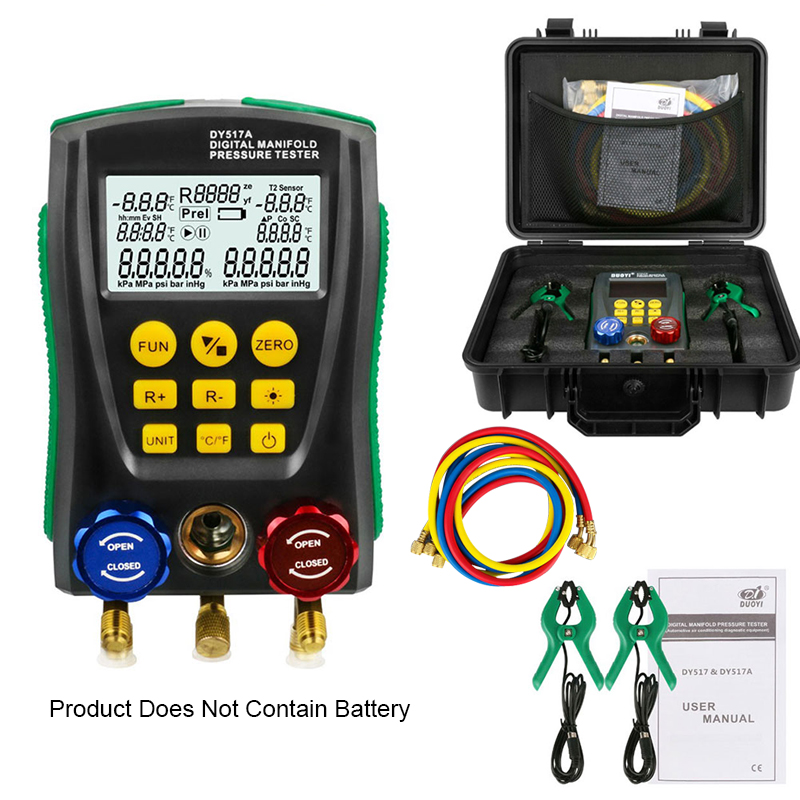 DY517A Digital Pressure Gauge Set Refrigeration Vacuum Pressure Manifold Tester Meter HVAC Temperature Tester Kit Tool Testing