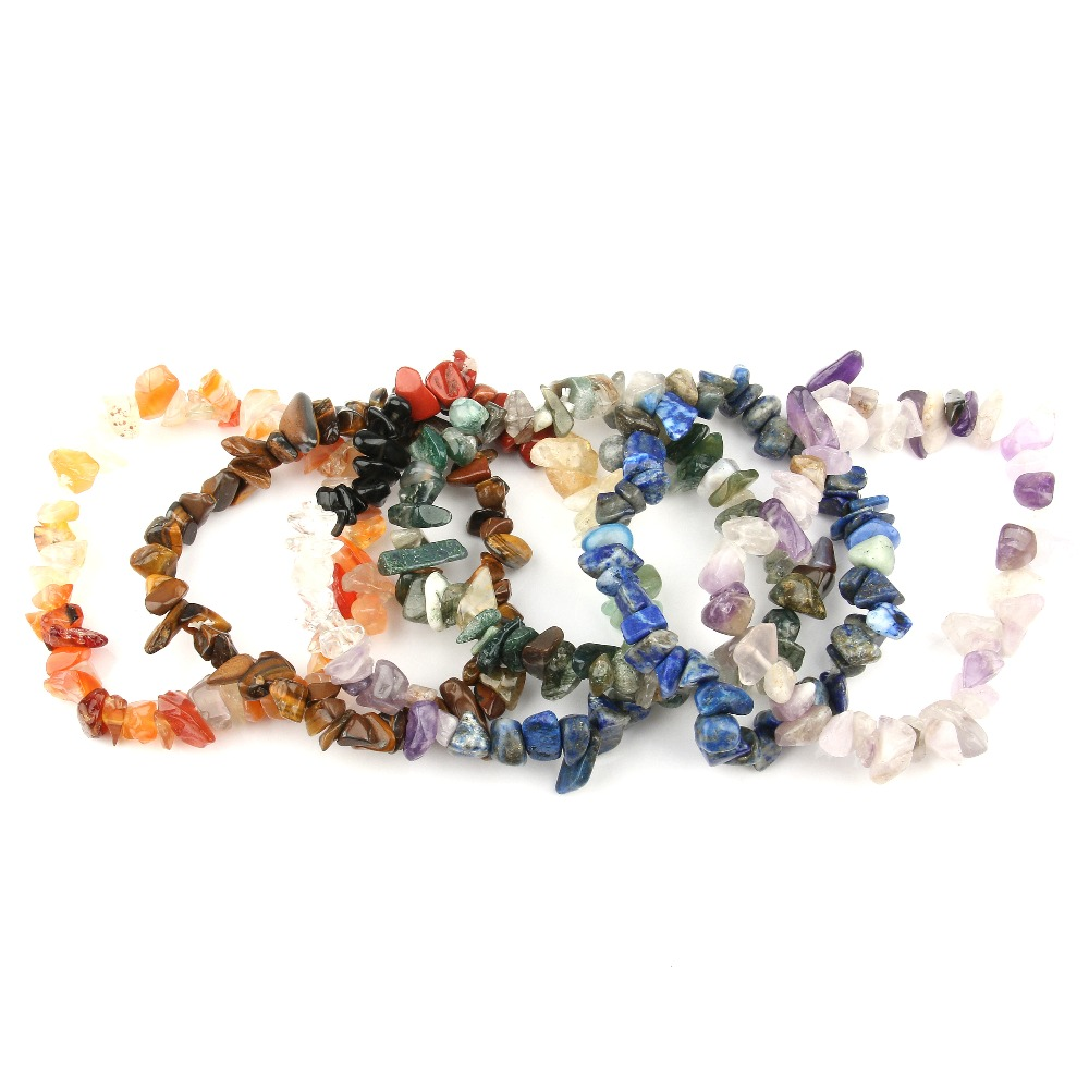 12 Colors Fashion Natural Rose Quartzs AmethystGems Stone Wristband Bracelets Women 39 s Gravel Bracelet As Birthday Gifts 19cm in Strand Bracelets from Jewelry amp Accessories