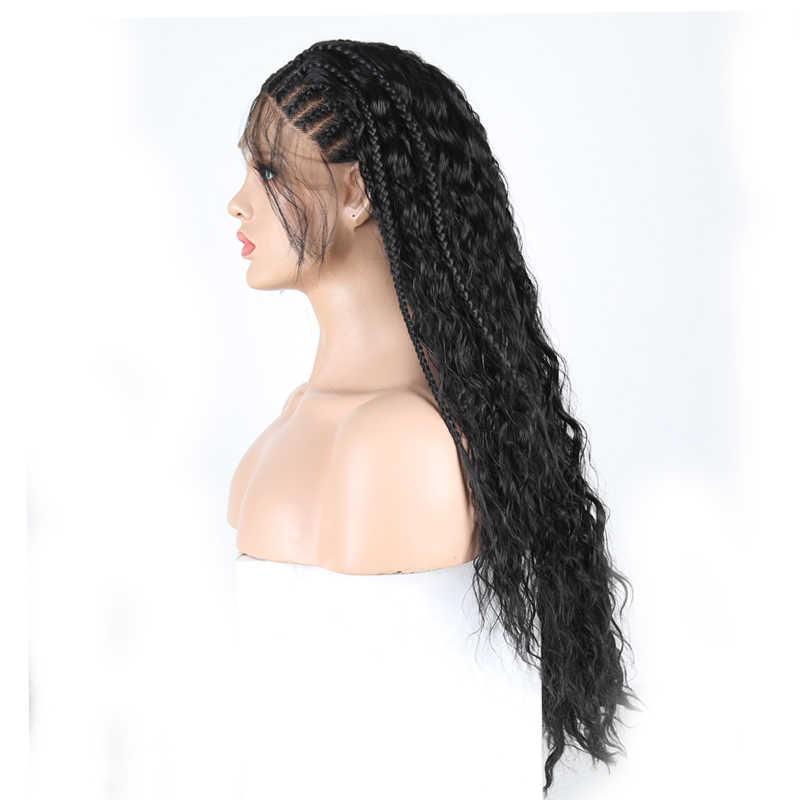 Karizma örgülü peruk ısıya dayanıklı iplik saç sentetik dantel ön peruk ile bebek saç siyah kadınlar için dantel peruk