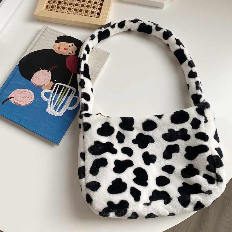 Frauen Handtaschen Einfache Kuh Gedruckt Schulter Tasche für Frauen Einfarbig Casual Weibliche Handtasche Mode Straße Taschen Hand Tasche