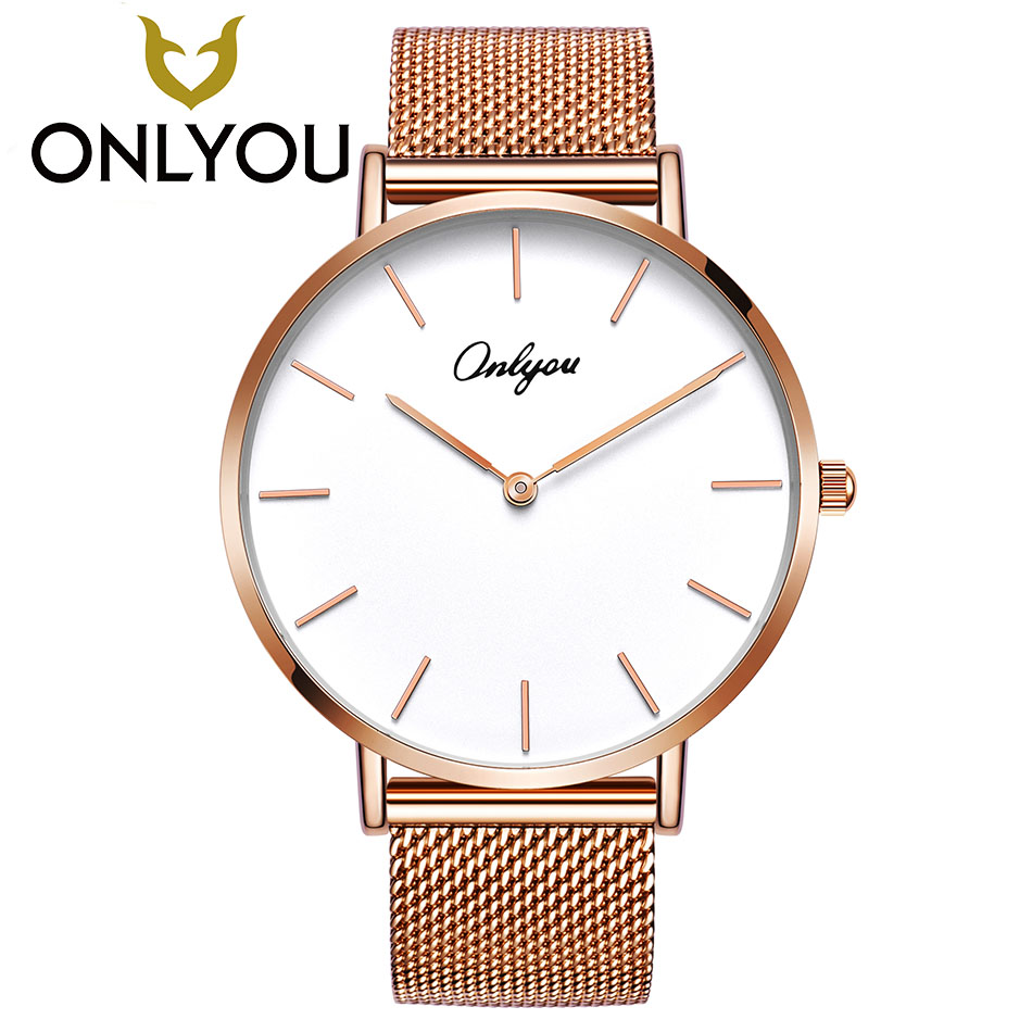 ONLYOU Rose Gold Quartz Watch Steel Bracelet Women Wristwatch For Ladies And Boys Montre Femme 83361G