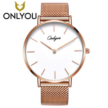ONLYOU Rose Gold Quartz Watch Steel Bracelet Women Wristwatch for Ladies and Boys montre femme 83361G aesop tungsten steel watch women rose gold bracelet quartz wristwatch elegant thin ladies clock montre femme relogio feminino