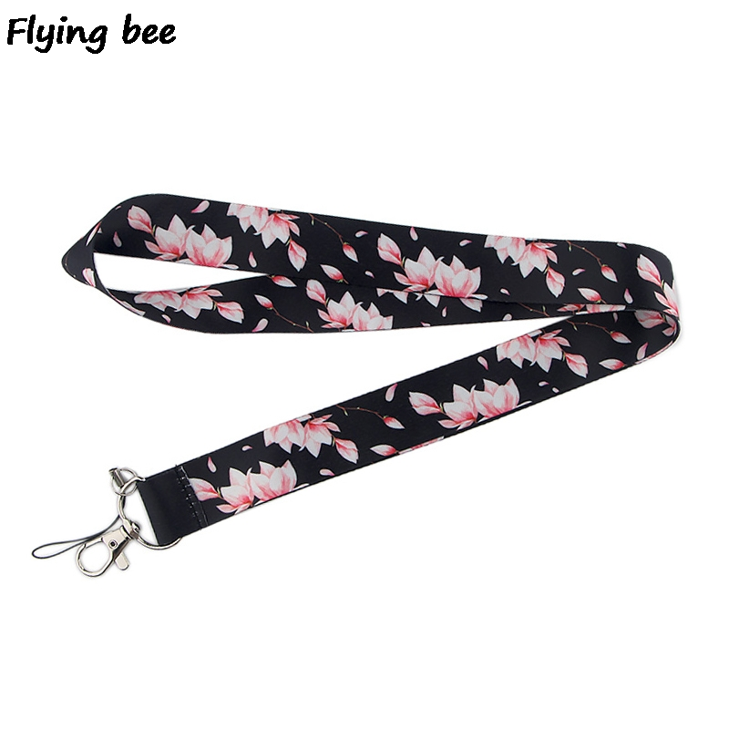 Flyingbee Cherry Blossoms Keychain Unique Phone Lanyard Women Fashion Strap Neck Lanyards For ID Card Phone Keys X0514