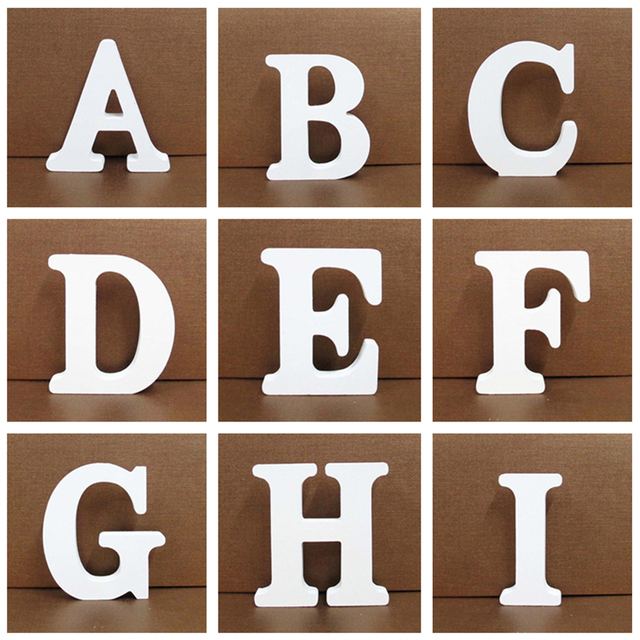 8CM Free Standing White Wooden Letter DIY Personalised Name Design Art Craft Heart English Alphabet Wedding Home Shop Decoration 1