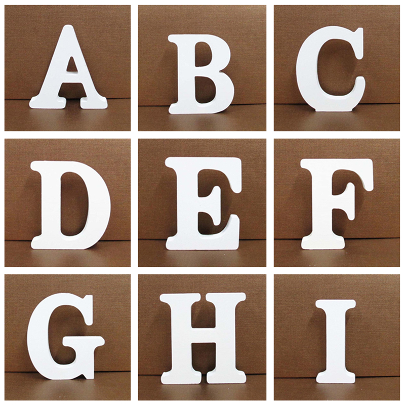 8CM Free Standing White Wooden Letter DIY Personalised Name Design Art Craft Heart English Alphabet Wedding Home Shop Decoration
