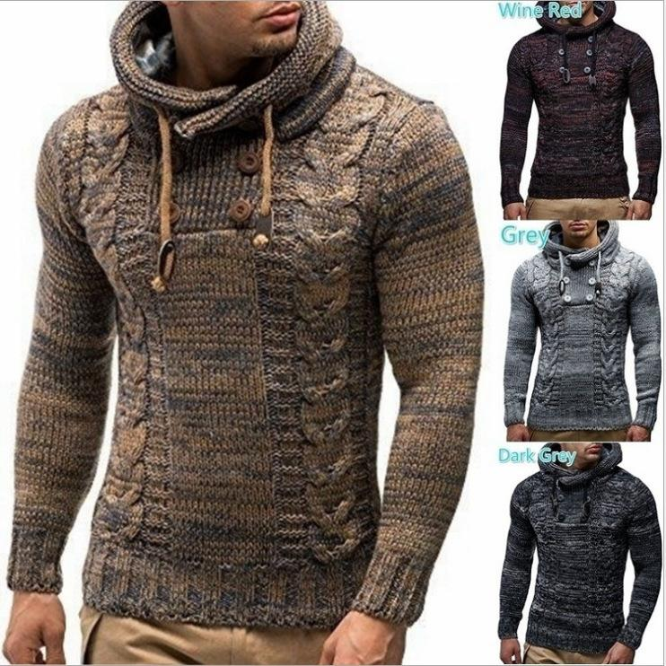 Men's Sweater Autumn Winter Pullovers Knitted Coat Hooded Sweater Jacket Outwear Fashion Design Collar Hooded Men Sweater Cloth