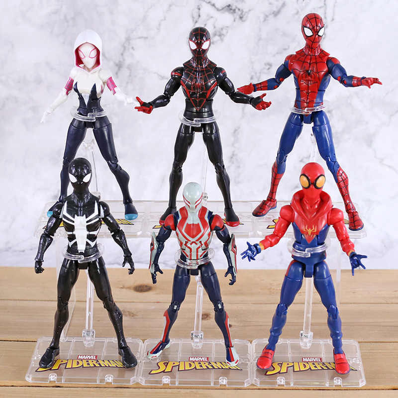 Marvel Spiderman Peter Parker Milhas Morales Gwen Stacy Spider Man 2099 PVC Action Figure Collectible Modelo Toy
