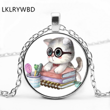 LKLRYWBD / Retro Cute Cat Round Glass Necklace Cartoon Pendant Jewelry