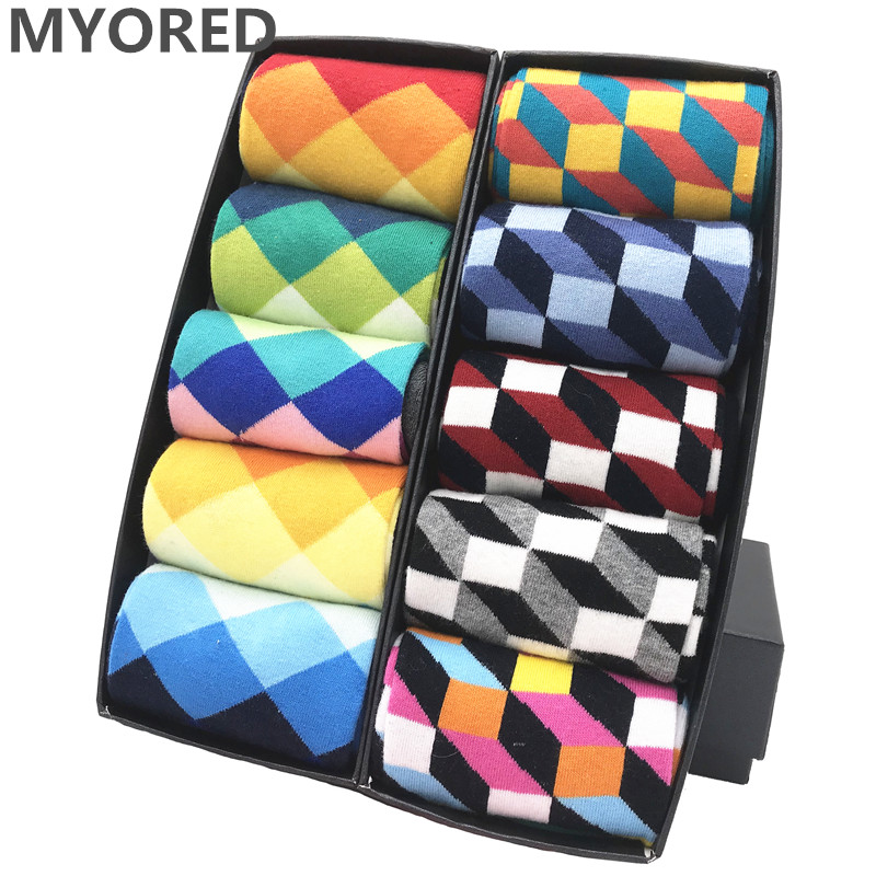 MYORED mens colorful casual dress socks combed cotton striped plaid geometric lattice pattern fashion design high quality-in Men's Socks from Underwear & Sleepwears
