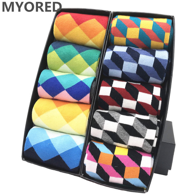 MYORED mens colorful casual dress socks combed cotton striped plaid geometric lattice pattern fashion design high quality