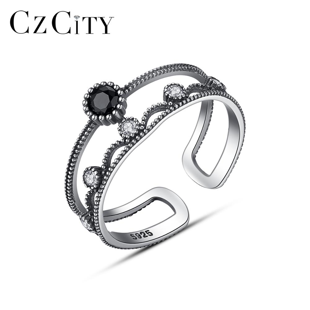 CZCITY Vintage Thai 925 Sterling Silver Statement Crown Open Rings For Women Anniversary Fine Jewelry Anel Femme Christmas Gifts