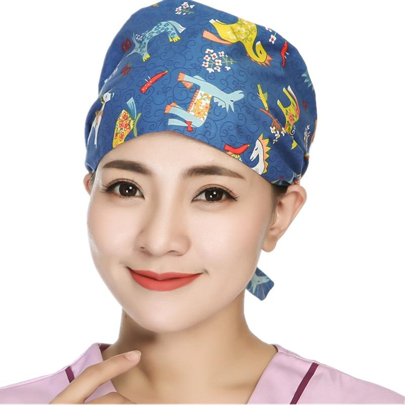 Hot Women/Men Surgery Scrubs Adjustable Unisex Hospital Medical Operation Scrub Caps Doctor Nurse Cotton Print Surgical Hats