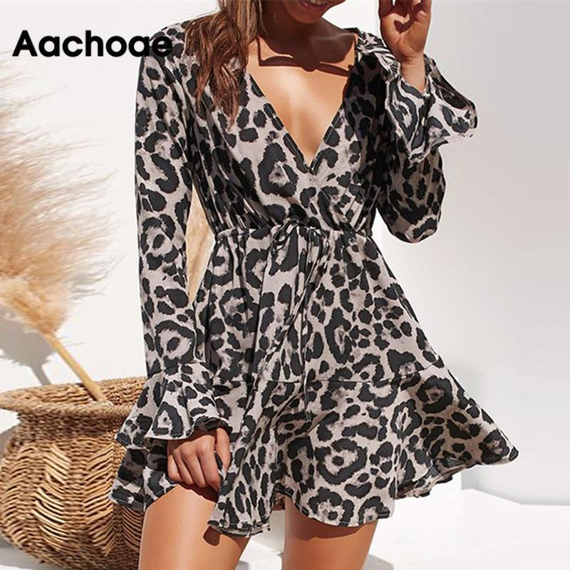 Aachoae Summer Chiffon Dress Women Leopard Print Boho Beach Dresses Casual Ruffle Long Sleeve A-line Mini Party Dress Vestidos