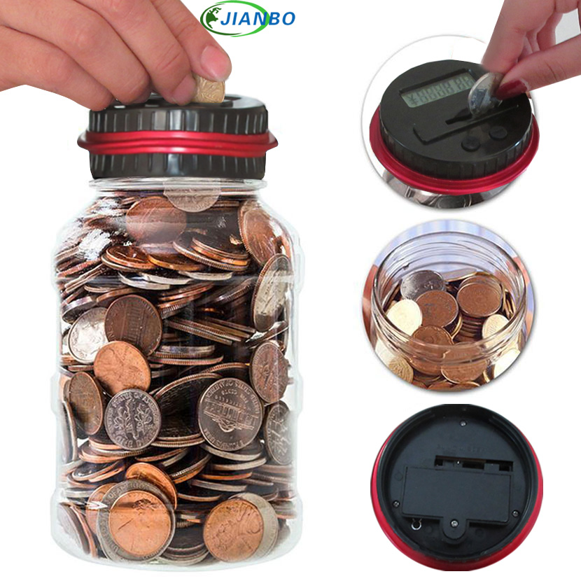 Digital Money Transparent Key Safe Box Jar Intelligent Electronic LCD Coin Counting Plastic Piggy Bank Saving Money Security Box