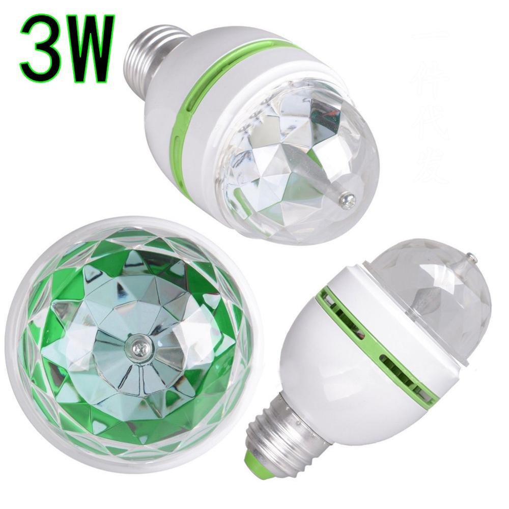 3W E27 LED RGB Bulb Colorful Auto Rotating Projector Crystal Led Stage Light Magic Ball DJ Party Disco Effect Lamp