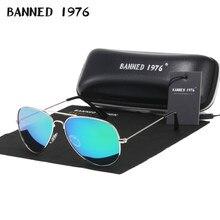Banido 1976 clássico hd polarizado armação de metal aviação óculos de sol designer feminino marca oculos vintage