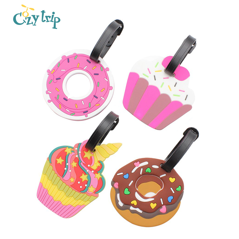 4 PCS Colorful Ice Cream Luggage Tags Travel Baggage Tags Suitcase Bag Labels Doughnut Backpack Identifier For Women