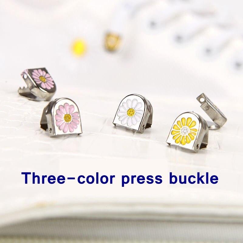 4pcs/set Daisy push button Shoelace Buckle Diamond Metal Push button shoes Lock Buckle For Flats Shoelace lock DIY Sneaker Kits