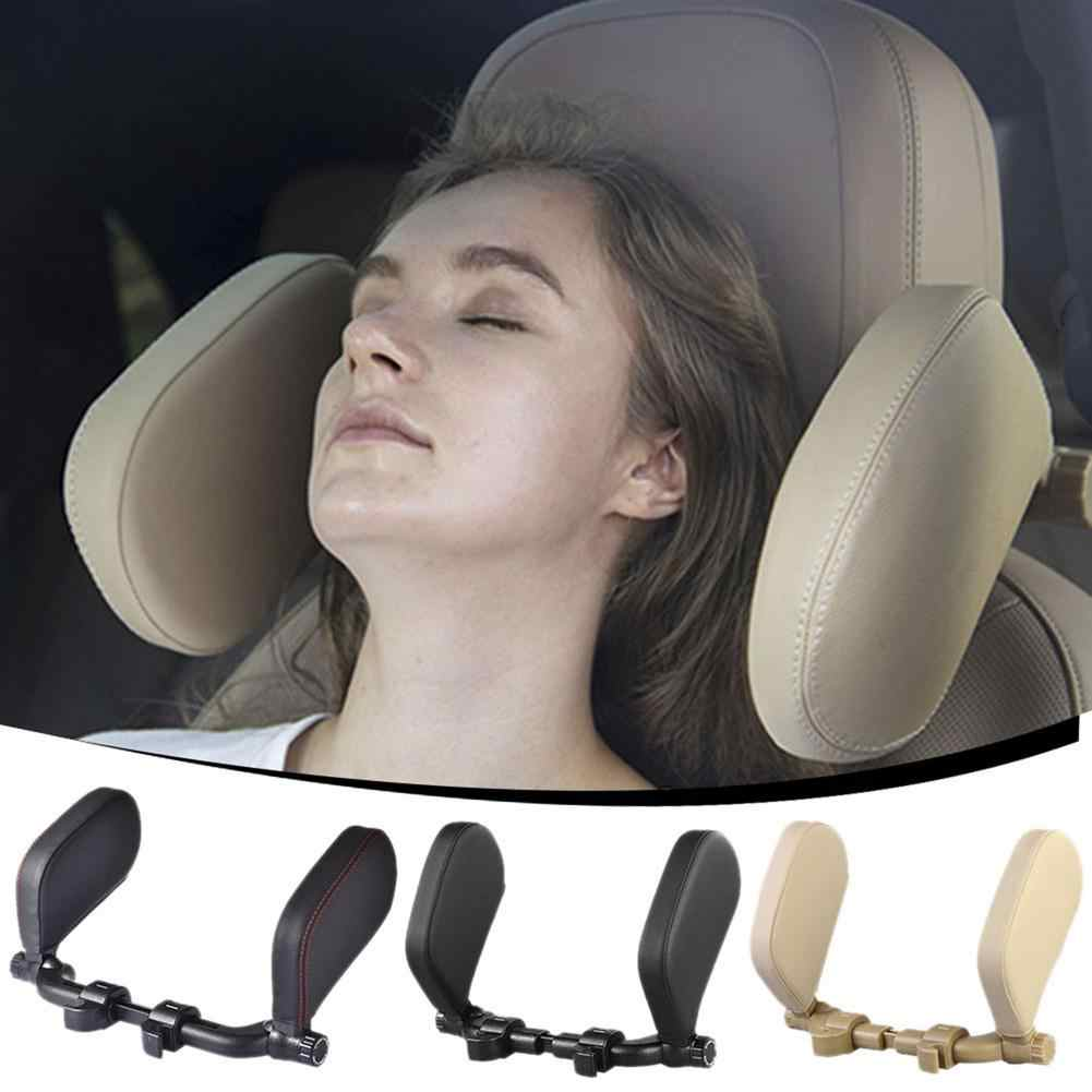 Black LATIT Car Seat Headrest Pillow Car Travel Headrest Adjustable PU Leather Head Neck Pillow Headrest for Travel Sleep Neck Support