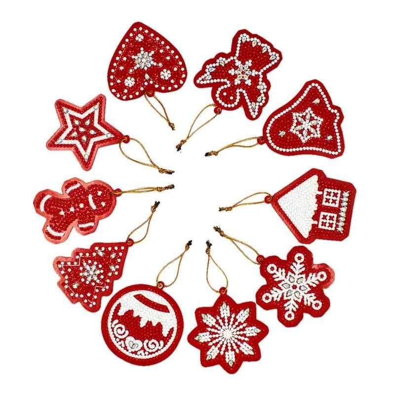 10 個 Diy のダイヤモンド塗装クリスマスツリーのペンダントフルドリル特殊な形状ダイヤモンド刺繍クリスマスの装飾ホーム