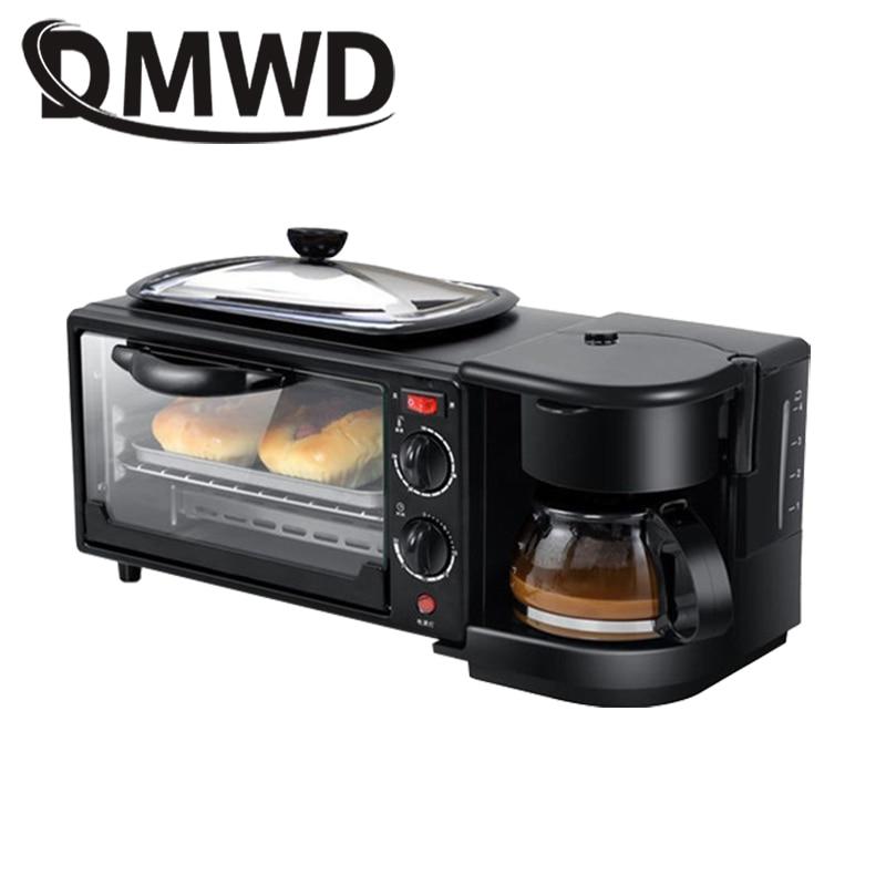 DMWD électrique 3 en 1 petit déjeuner Machine multifonction Mini goutte à goutte cafetière américaine four à Pizza oeuf Omelette poêle grille-pain