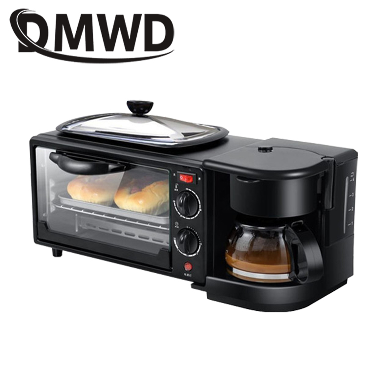 DMWD Electric 3 In 1 Breakfast Machine Multifunction Mini Drip American Coffee Maker Pizza Oven Egg Omelette Frying Pan Toaster