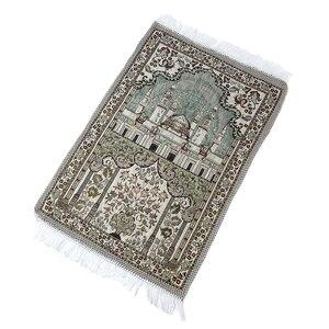 Image 1 - Толстые мягкие коврики для поклонения в гостиной ковер в этническом стиле ковер 65X110 см с кисточкой домашний пол мусульманское Молитвенное одеяло прямоугольник
