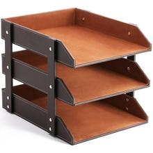 3-Tier Stacking Leather Letter Trays Office Desk Supply Organizer, Files Sorter Workplace Desktop Storage Holder