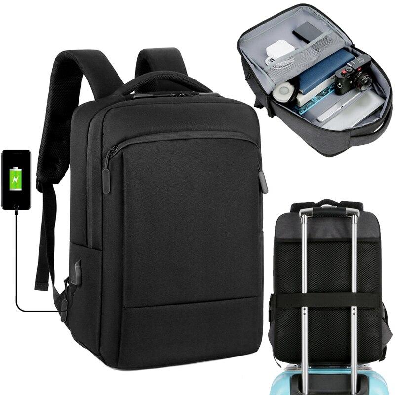 Laptop Backpack Men 15.6 Inch Office Work Bagpack Usb Charging Business Bag Unisex Black Backpack School Back Pack Mochila Male