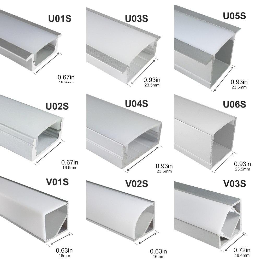 5sets 0.5m Sliver Color LED Aluminum Profile U Shape With Milky Cover For LED Strip Led Aluminum Channel