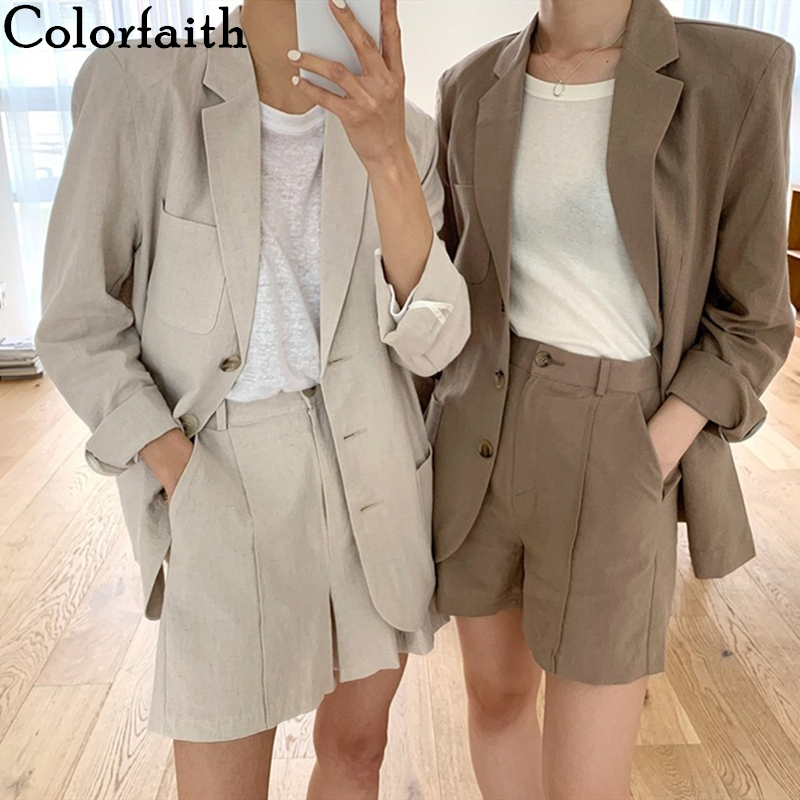 Colorfaith 2020 New Summer Women's Sets 2 Pieces Matching Wide Leg Short Pants Casual Cotton And Linen Pockets Lady Suit WS9312