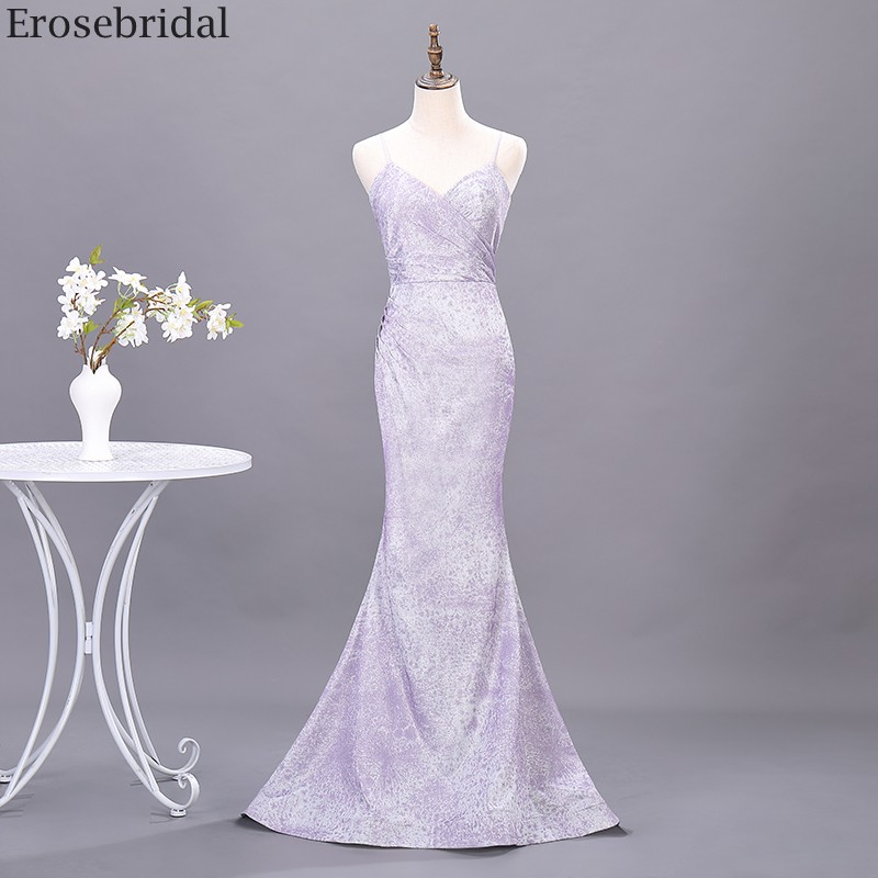 Erosebridal Light Purple Mermaid Prom Dress Long Elegant Sling Style Long Formal Dress Evening Gown Samll Train Open Back