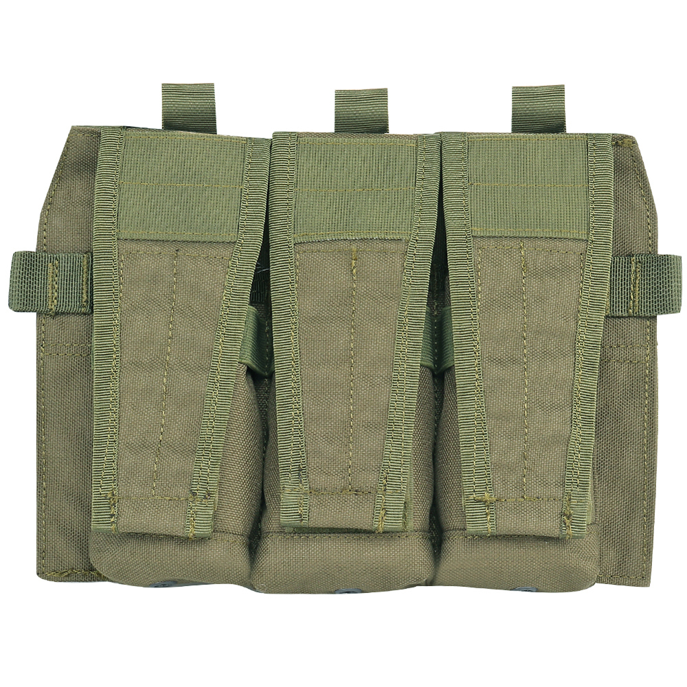 Triple M4 5.56 Mag Pouch Tactical Front Magazine Panel JPC 2.0 AVS Detachable Flap Vest Hook And Loop AEG Paintball Accessories