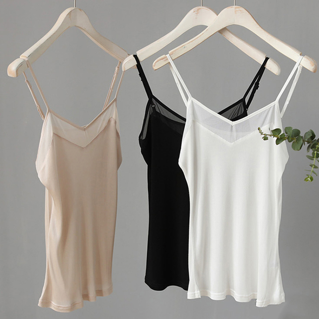 Natural silk plus size camisoles for women lingerie top sexy femme undershirt women tank top Camis white halter top