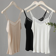 الحرير الطبيعي حجم كبير camعبوة للنساء الملابس الداخلية قميص فام مثير رداء علوي من دون أكمام للنساء قميص علوي أبيض الرسن