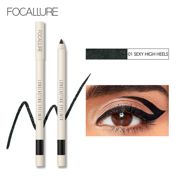 FOCALLURE Long-lasting Gel Eyeliner Pencil Waterproof Easy To Wear Black Liner Pen Eye Makeup