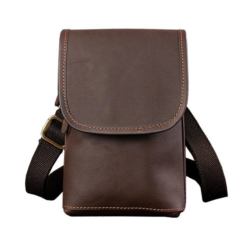 New Waist Pack Small Crossbody Bag Men Genuine Leather Men's Shoulder Bags For Cell Phone Bag Belt Waist Packs For Men Handbag