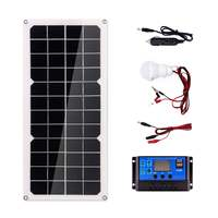 20W Solar Panel Dual USB 18V with 3W LED Lamp + 10A USB Solar Regulator Charger Controller for Car Outdoor Camping Light