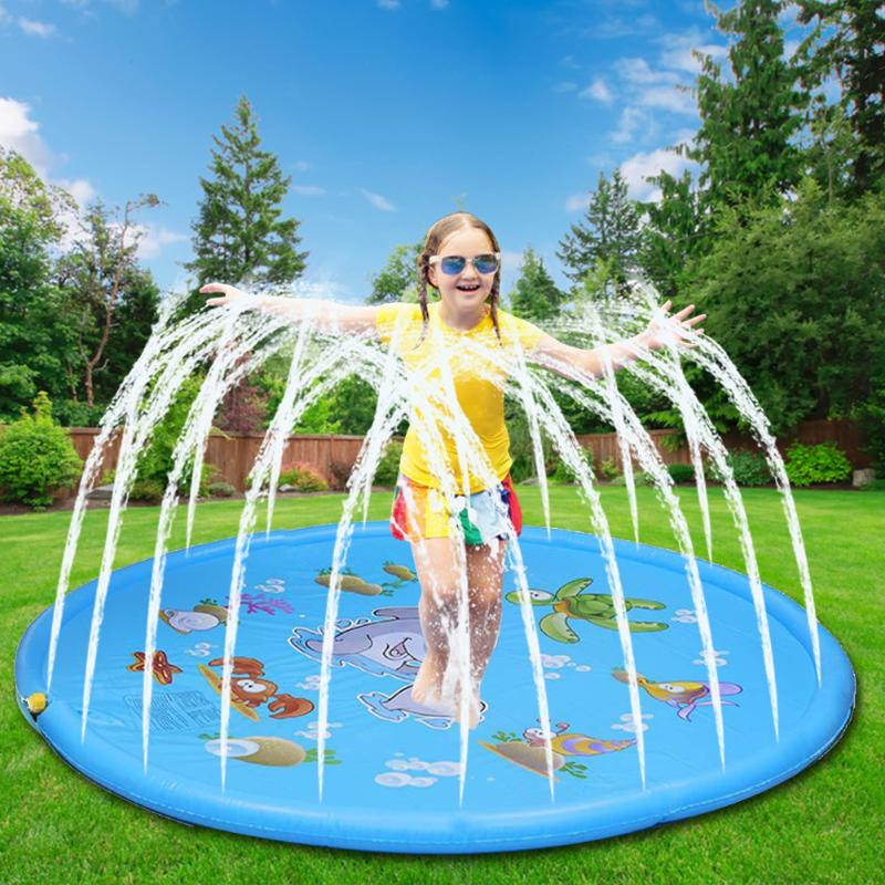 100cm-170cm Outdoor Lawn Beach Sea Animal Inflatable Water Spray Kids Sprinkler Play Pad Mat Water Games Beach Mat Cushion Toys