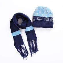 Рождественская шапка с принтом снежинки, шарф, комплект для детей, зимние теплые мягкие вязаные шапки, шарф, комплект из 2 предметов, Новогодняя шапочка для мальчиков и девочек