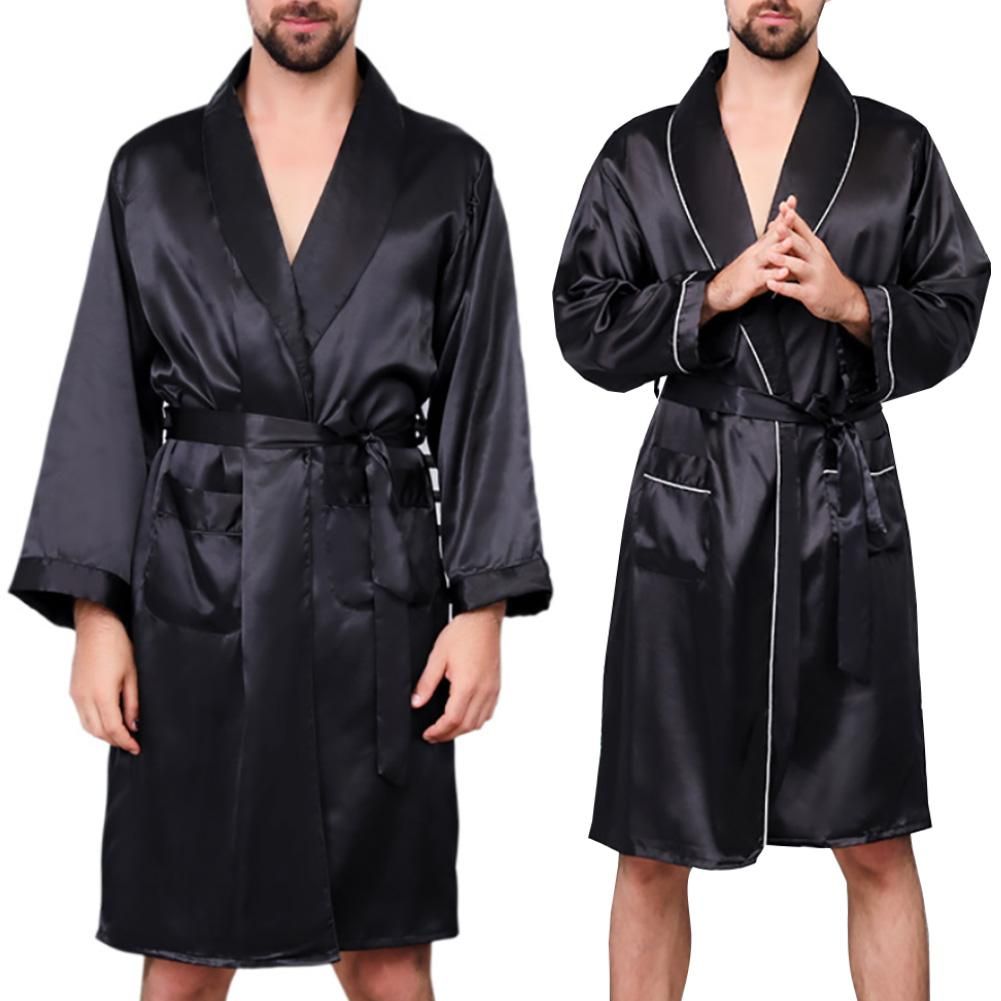 2020 New Black Bathrobe Men Sleepwear Imitation Silk Long Sleeve Bath Robe Men Bathrobes Dressing Gown Mens Robe Bademantel