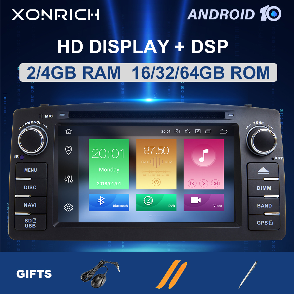 4GB 64DSP 2 Din Android 10 Car Radio DVD Player For Toyota <font><b>Corolla</b></font> <font><b>E120</b></font> BYD F3 2000 2003 2004 2005 2006 MultimediaGPS Navigation image